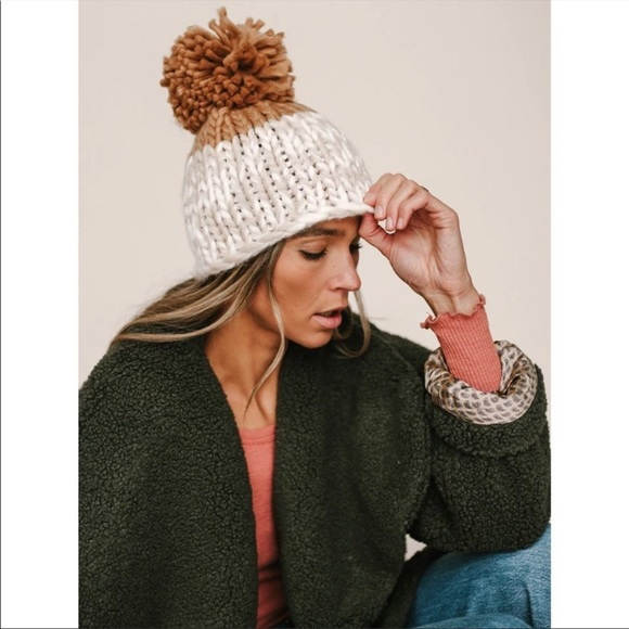 Free People Cozy Up Chunky Knit Pom Hat